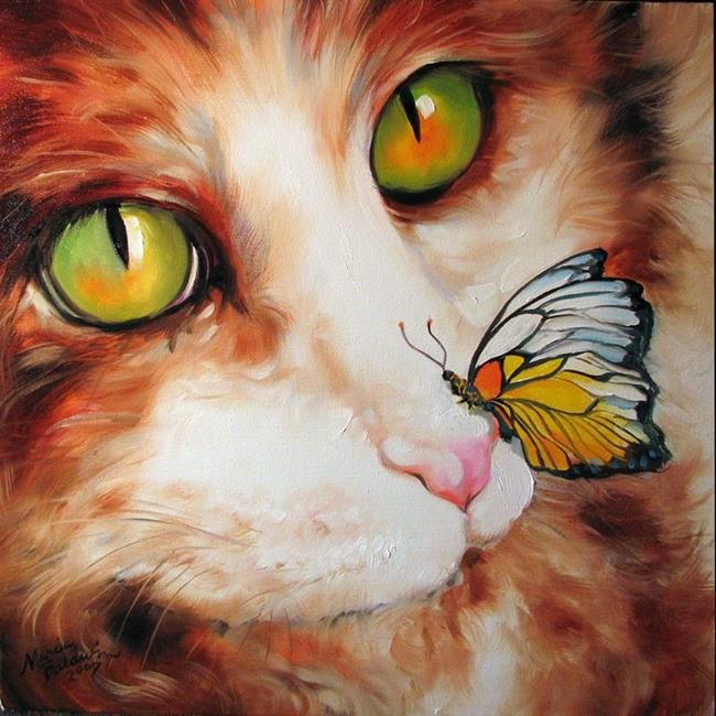 Art: CALICO & BUTTERFLY by Artist Marcia Baldwin