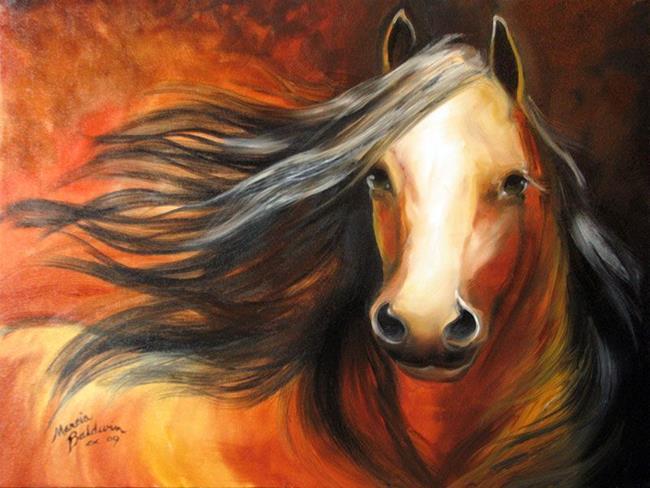 Art: BAY MUSTANG STALLION by Artist Marcia Baldwin