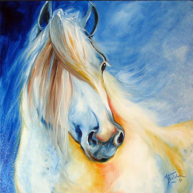 Art: CLOUD ~ EQUINE ART ORIGINAL  by Artist Marcia Baldwin