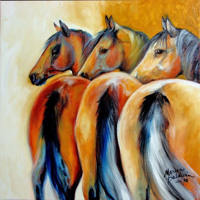 Art: 3 in ANTICIPATION ~ EQUINE ART ORIGINAL by Artist Marcia Baldwin
