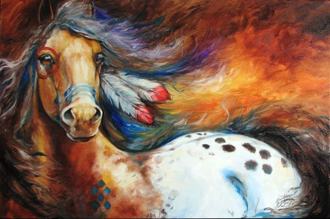 Art: SPIRIT INDIAN WARRIOR PONY by Artist Marcia Baldwin