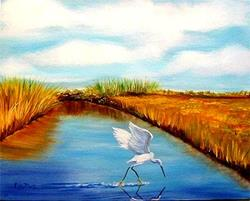 Art: Florida Scene with Egret (sold) by Artist Ulrike 'Ricky' Martin