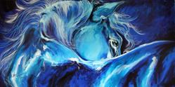 Art: BLUE NIGHT ABSTRACT EQUINE by Artist Marcia Baldwin