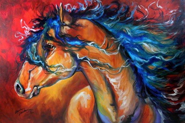 Art: RED THUNDER INDIAN WAR HORSE by Artist Marcia Baldwin