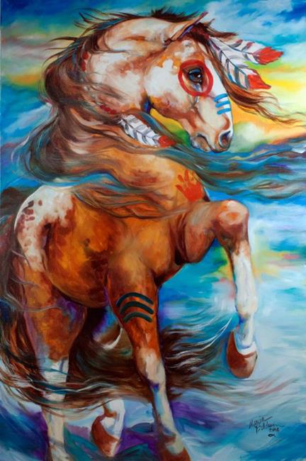 Art: SPIRIT THUNDER INDIAN WAR HORSE by Artist Marcia Baldwin