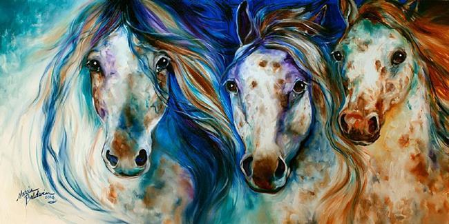 Art: 3 WILD APPALOOSA HORSES by Artist Marcia Baldwin