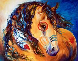 Art: SUN BUCKSKIN INDIAN WAR HORSE by Artist Marcia Baldwin