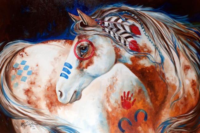 Art: SUN RISING INDIAN WAR HORSE by Artist Marcia Baldwin