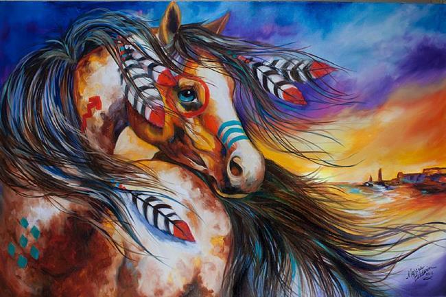 Art: 5 FEATHERS Indian War Horse by Artist Marcia Baldwin