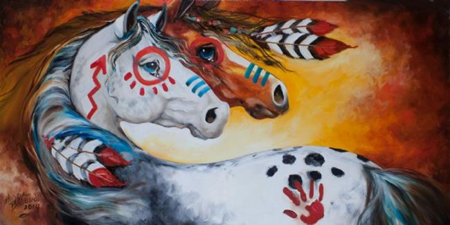 Art: THE BRAVE ONES Indian War Horses by Artist Marcia Baldwin