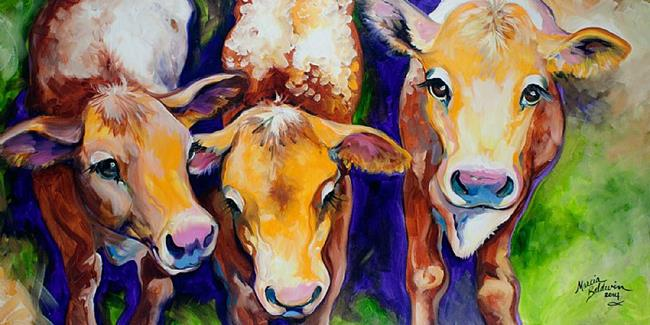 Art: MOO MOO MOO 3 calves by Artist Marcia Baldwin
