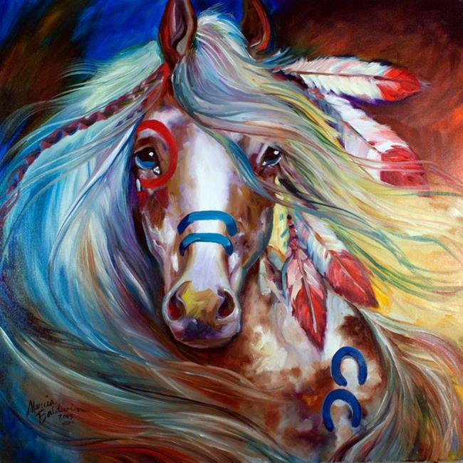 Art: INDIAN WAR HORSE ~ FEARLESS by Artist Marcia Baldwin