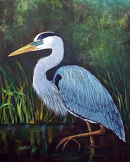 Art: Blue Heron - sold by Artist Ulrike 'Ricky' Martin
