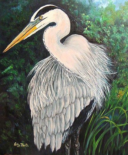 Art: Great Blue - sold by Artist Ulrike 'Ricky' Martin