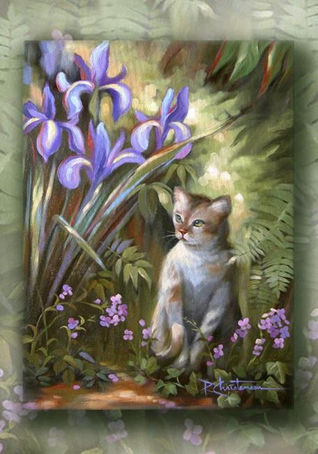 Art: Iris and Kitty, Victorian Garden Series by Artist Patricia  Lee Christensen