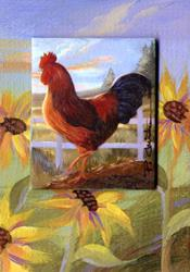 Art: Rooster & Sunflowers ATC - SOLD by Artist Patricia  Lee Christensen
