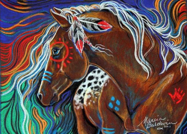 Art: RUNNING WATERS INDIAN WAR HORSE by Artist Marcia Baldwin