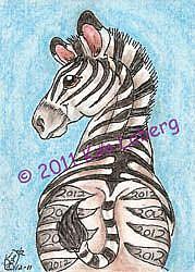 Art: 2012 Zebra - SOLD by Artist Kim Loberg