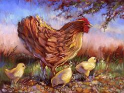 Art: Hen And Chicks by Artist Patricia  Lee Christensen