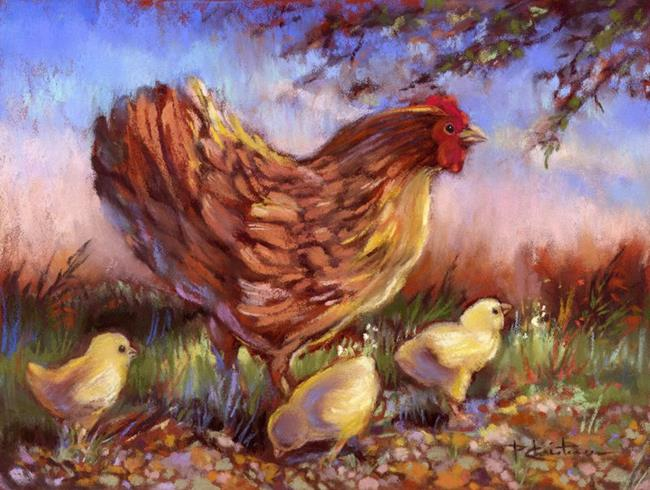 Art: Hen And Chicks by Artist Patricia  Lee Christensen