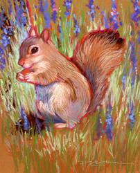 Art: Munching Squirrel - (Sold) by Artist Patricia  Lee Christensen