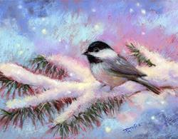 Art: Blackcap Chickadee and First Snowfall by Artist Patricia  Lee Christensen
