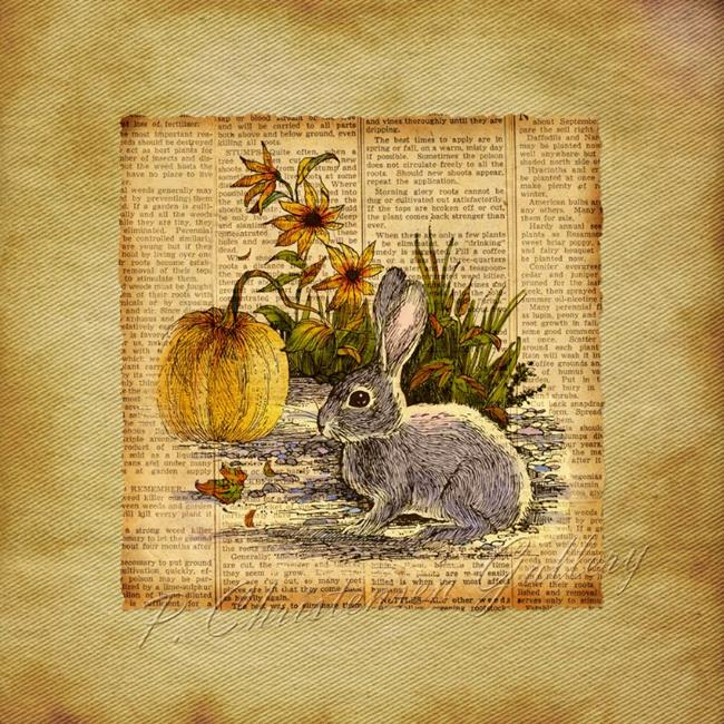 Art: Rabbit and Pumpkin in the Garden by Artist Patricia  Lee Christensen