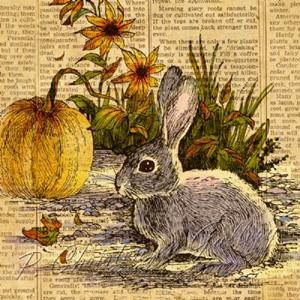 Detail Image for art Rabbit and Pumpkin in the Garden
