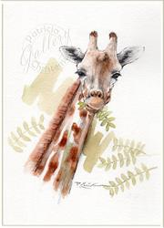 Art: Giraffe Munching Acacia Leaves by Artist Patricia  Lee Christensen