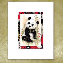 Art: Panda Munching Green Lunch by Artist Patricia  Lee Christensen