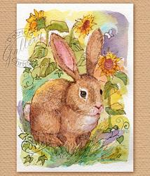 Art: Rabbit Among Sunflowers by Artist Patricia  Lee Christensen