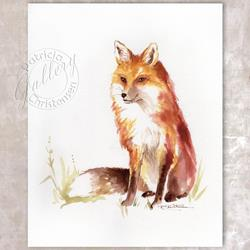 Art: Contemplating Fox by Artist Patricia  Lee Christensen