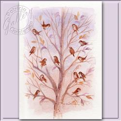 Art: 14 Sparrows ~ (Sold) by Artist Patricia  Lee Christensen