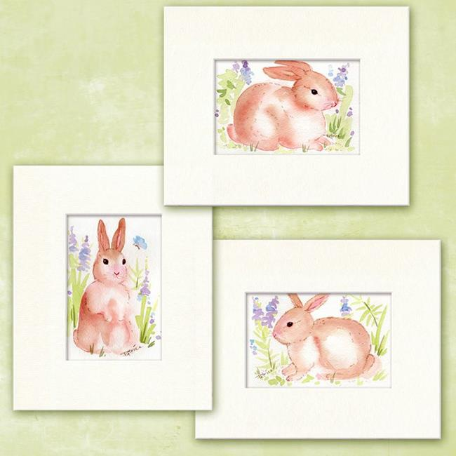 Art: Watercolor Set of Three Spring Bunnies by Artist Patricia  Lee Christensen
