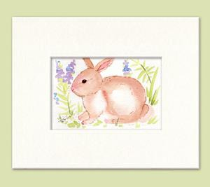 Detail Image for art Watercolor Set of Three Spring Bunnies