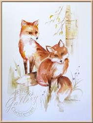 Art: Two Foxes by Artist Patricia  Lee Christensen