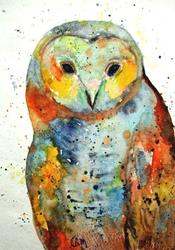 Art: Owl Portrait ( sold ) by Artist Ulrike 'Ricky' Martin