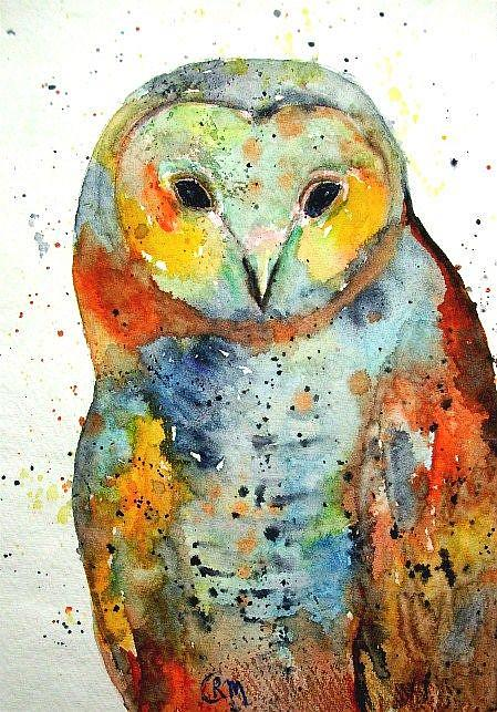 Art: Owl Portrait ( sold ) by Artist Ulrike 'Ricky' Martin