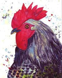 Art: Rooster Portrait by Artist Ulrike 'Ricky' Martin