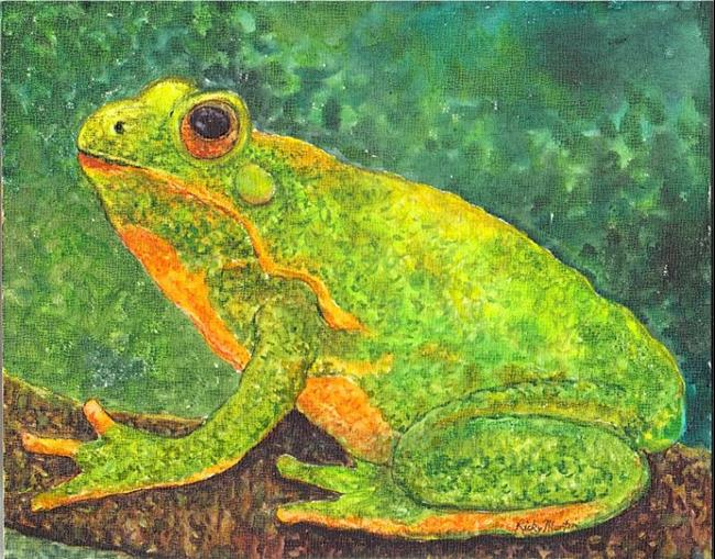 Art: Frog on a Tree Branch by Artist Ulrike 'Ricky' Martin