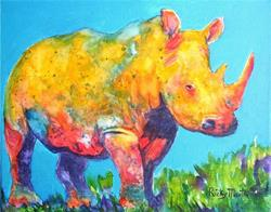 Art: Abstract Rhino - sold by Artist Ulrike 'Ricky' Martin