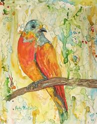 Art: Bird on a Branch by Artist Ulrike 'Ricky' Martin
