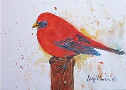 Art: Red Bird by Artist Ulrike 'Ricky' Martin
