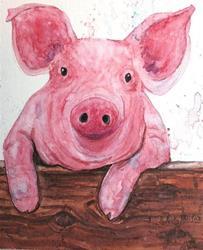 Art: Curious Piglet by Artist Ulrike 'Ricky' Martin