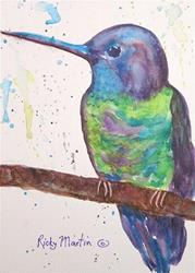 Art: Purple Hummingbird by Artist Ulrike 'Ricky' Martin