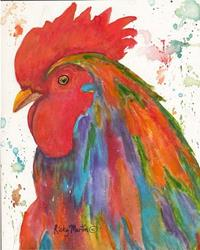 Art: Abstract Rooster Portrait by Artist Ulrike 'Ricky' Martin