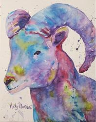 Art: Abstract Big Horn Sheep by Artist Ulrike 'Ricky' Martin