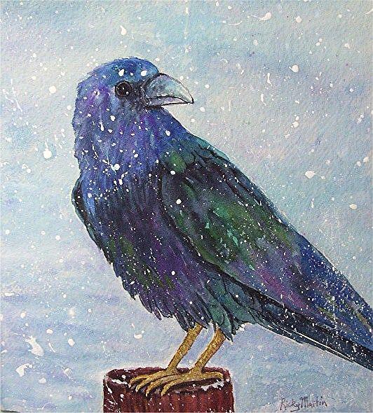 Art: Raven in Winter - sold by Artist Ulrike 'Ricky' Martin