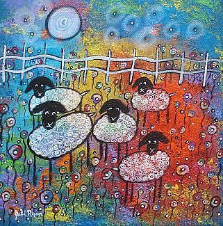 Art: Merry Sheep In The Flowers by Artist Juli Cady Ryan