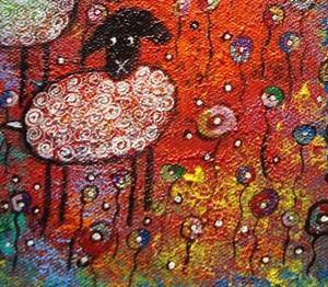 Detail Image for art Merry Sheep In The Flowers